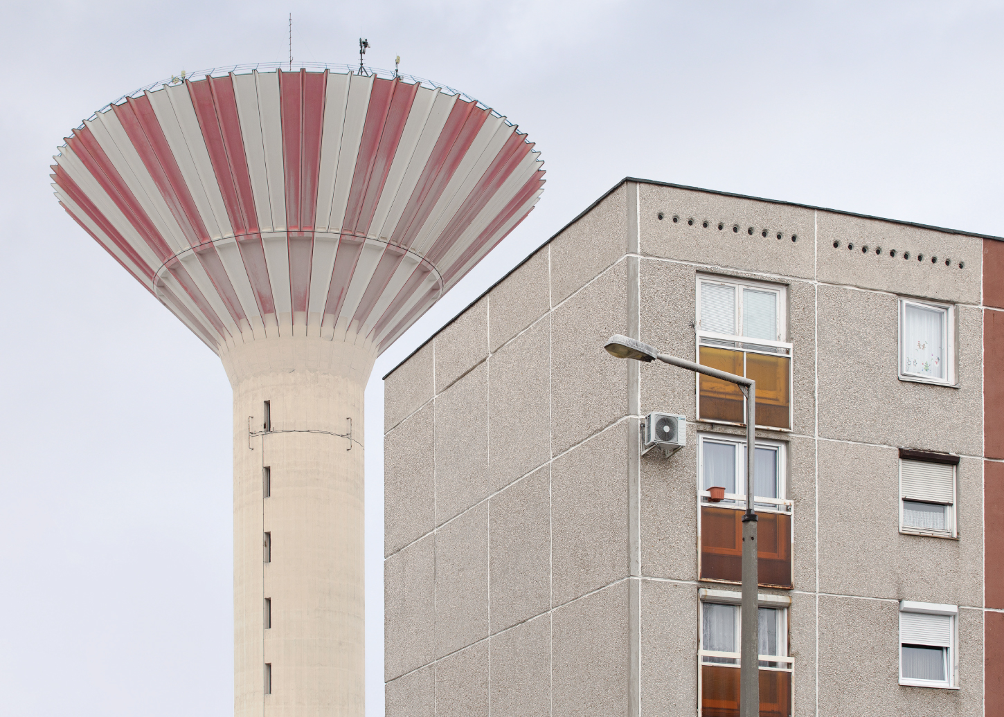 Panelház (prefab panel block) and water tower in Csepel, the XXI district of Budapest (Hungary)