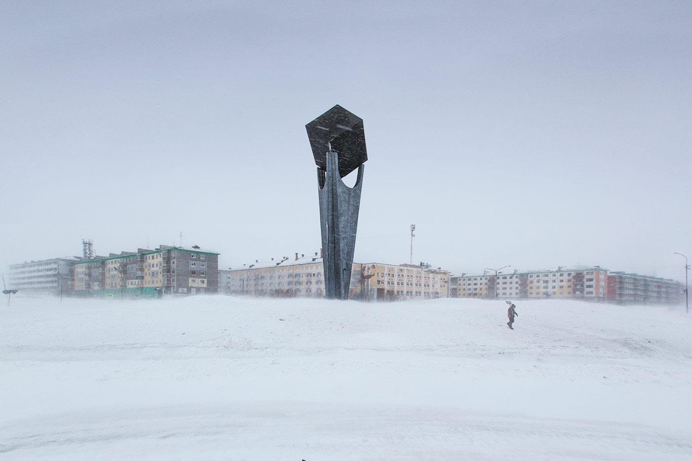 'Coal' monument in Vorgashor settlement, Vorkuta