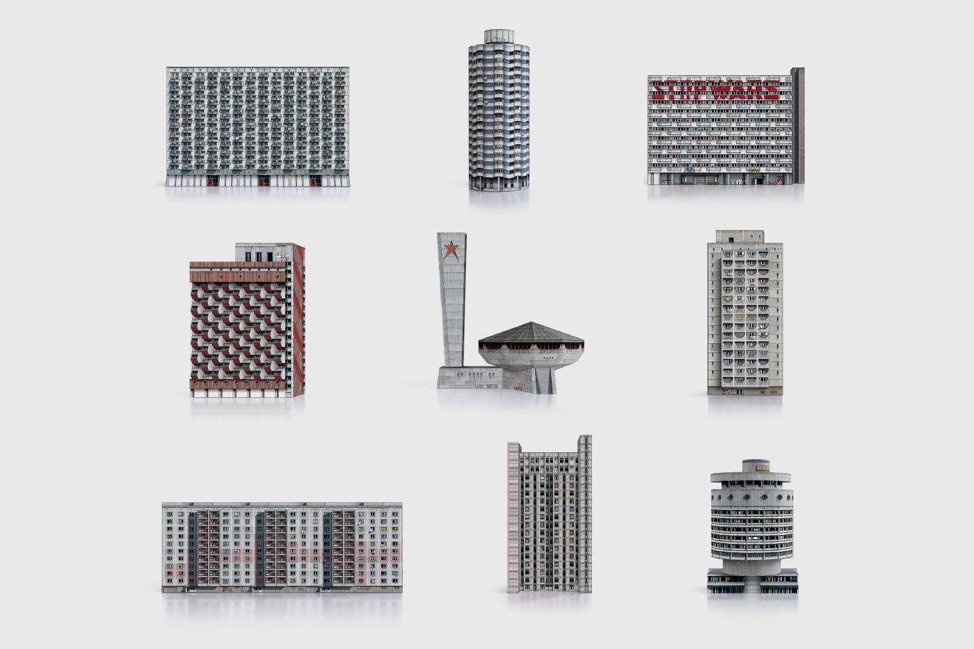 Paper models to press out and Build Your Own Brutalist Eastern Bloc