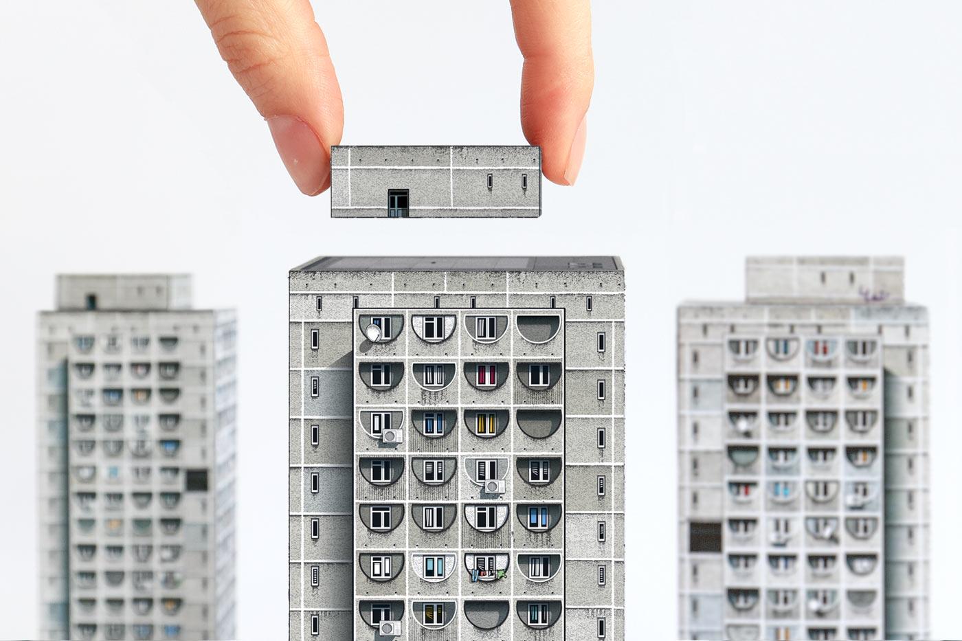 Paper models of 'Sky-Bridge' Housing Estate in Tbilisi, Georgia