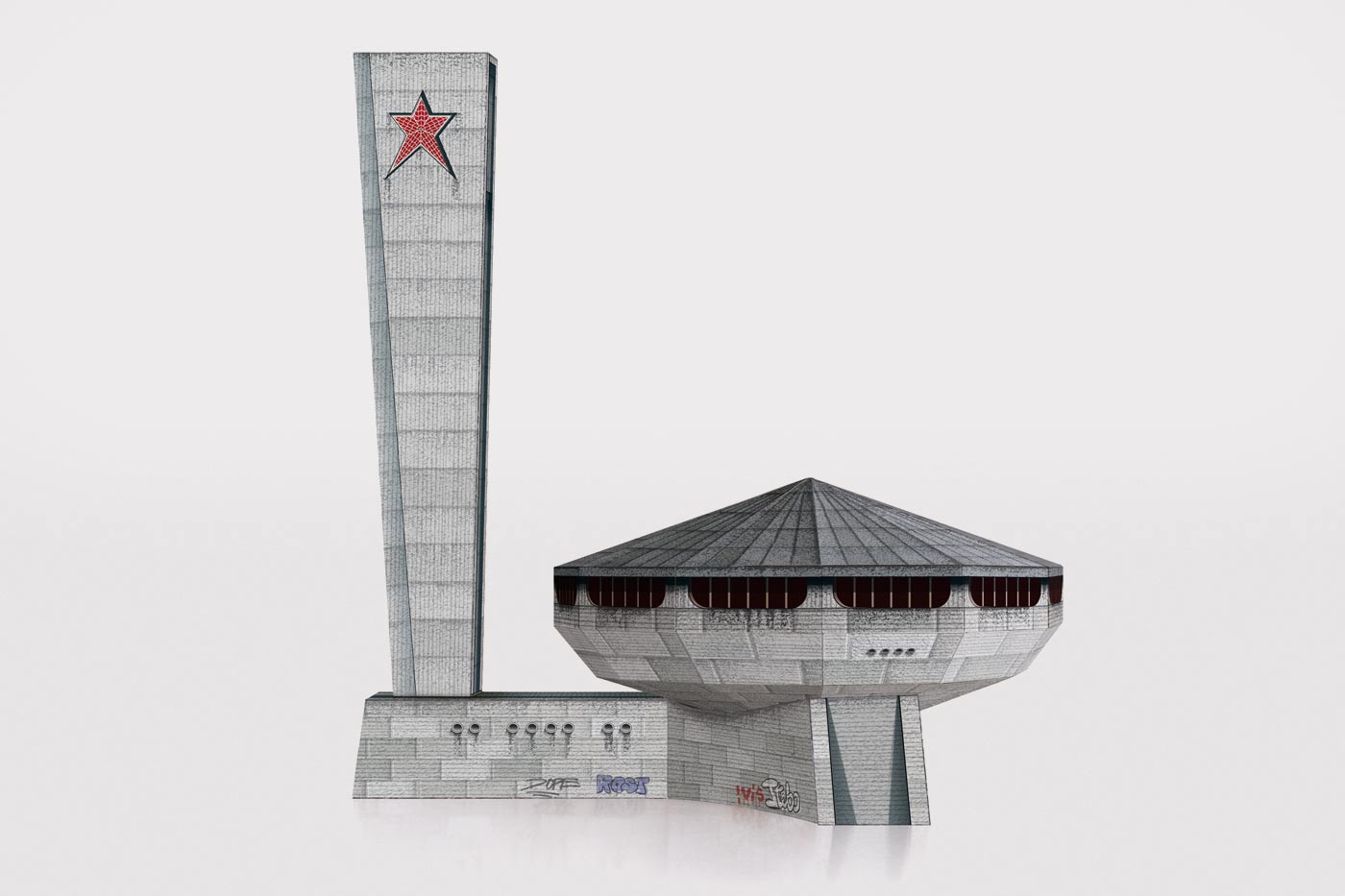 Paper model of the Monument House of the Bulgarian Communist Party in Bulgaria