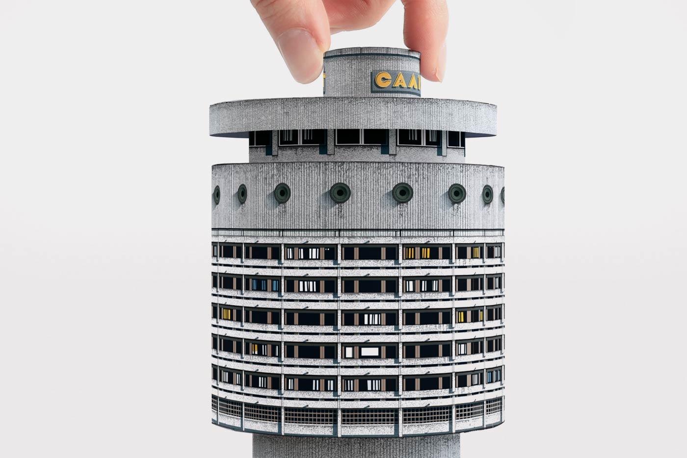 Cardboard model of Hotel Salute in Kyiv, Ukraine