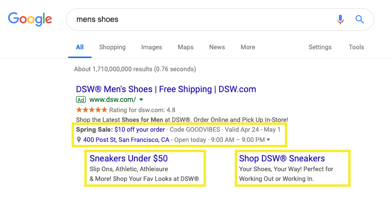 google ppc ad extensions