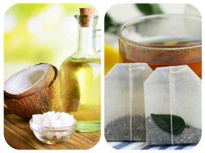 Xóa nếp nhăn tại nhà khi dùng dầu dừa kết hợp túi trà