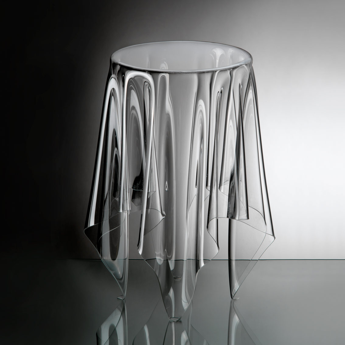 Tall Illusion clear side table