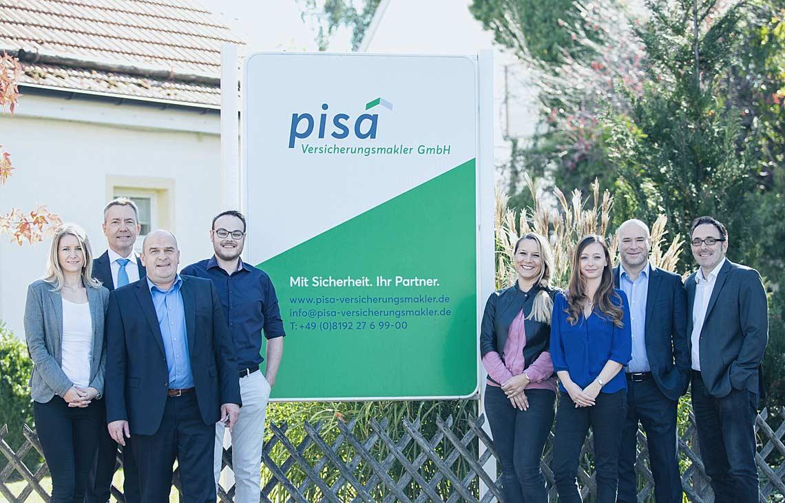 Das komplette Team der pisa Versicherungsmakler GmbH