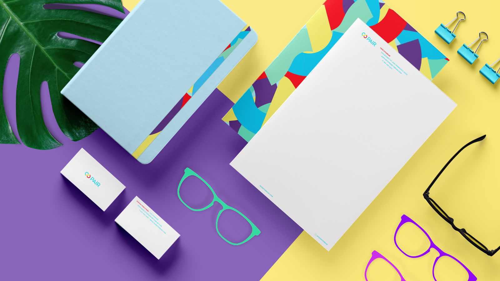Pair Eyewear branding and some collateral - business cards and letterhead
