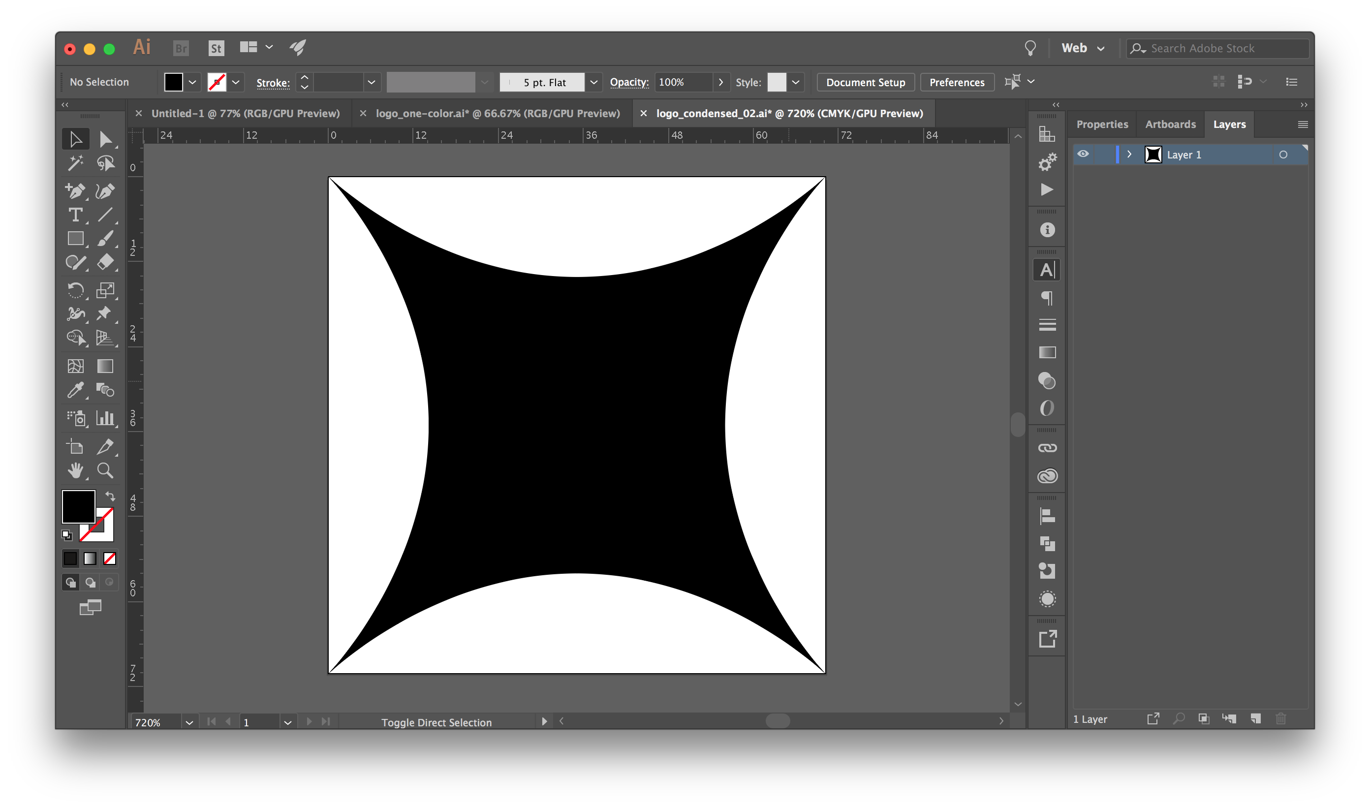 a simple vector shape in illustrator - in this example it's the Condensed icon