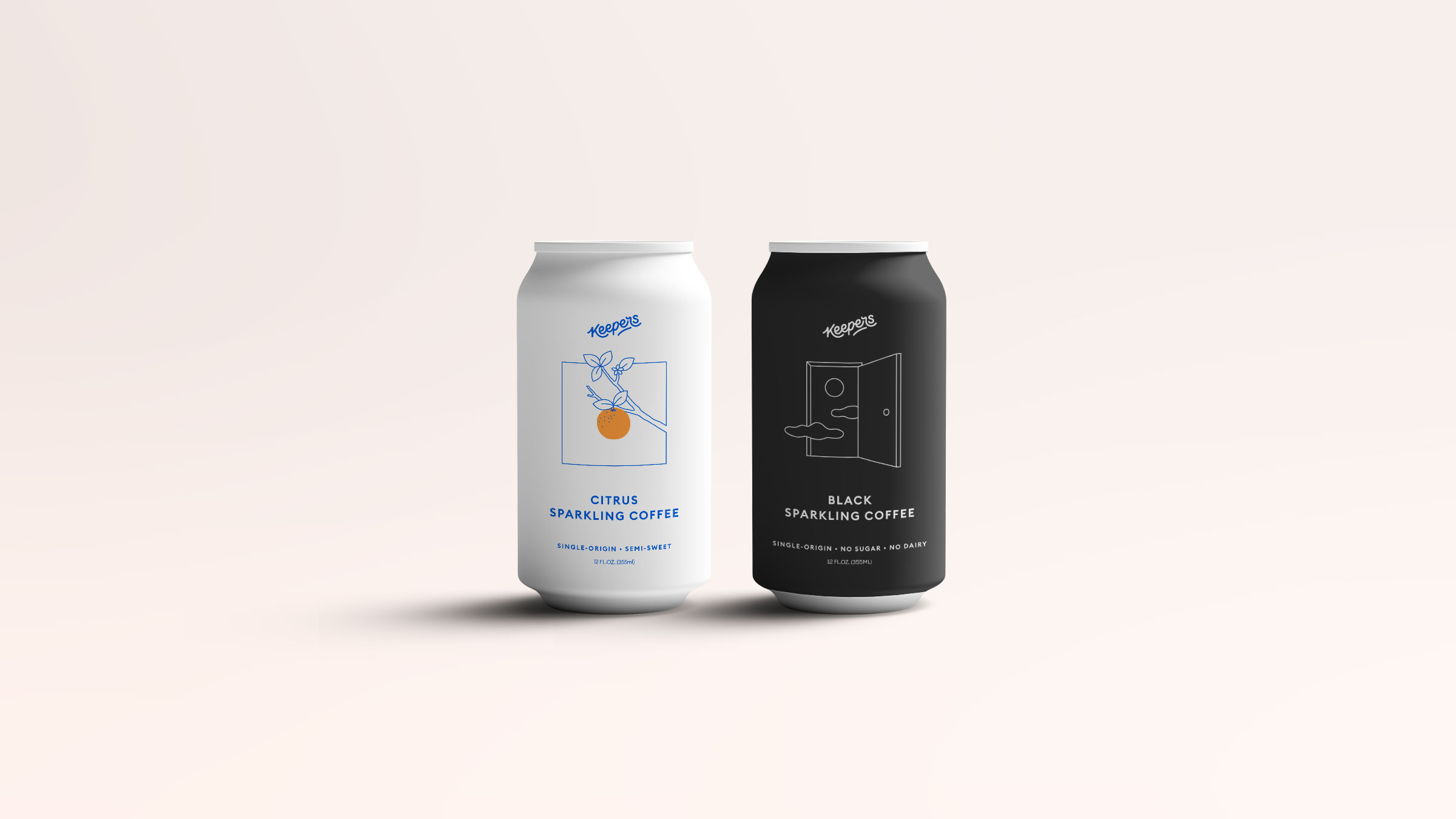 Beautiful packaging designed by Condensed for Keepers - shows two cans one black one white standing together in delicious harmony.
