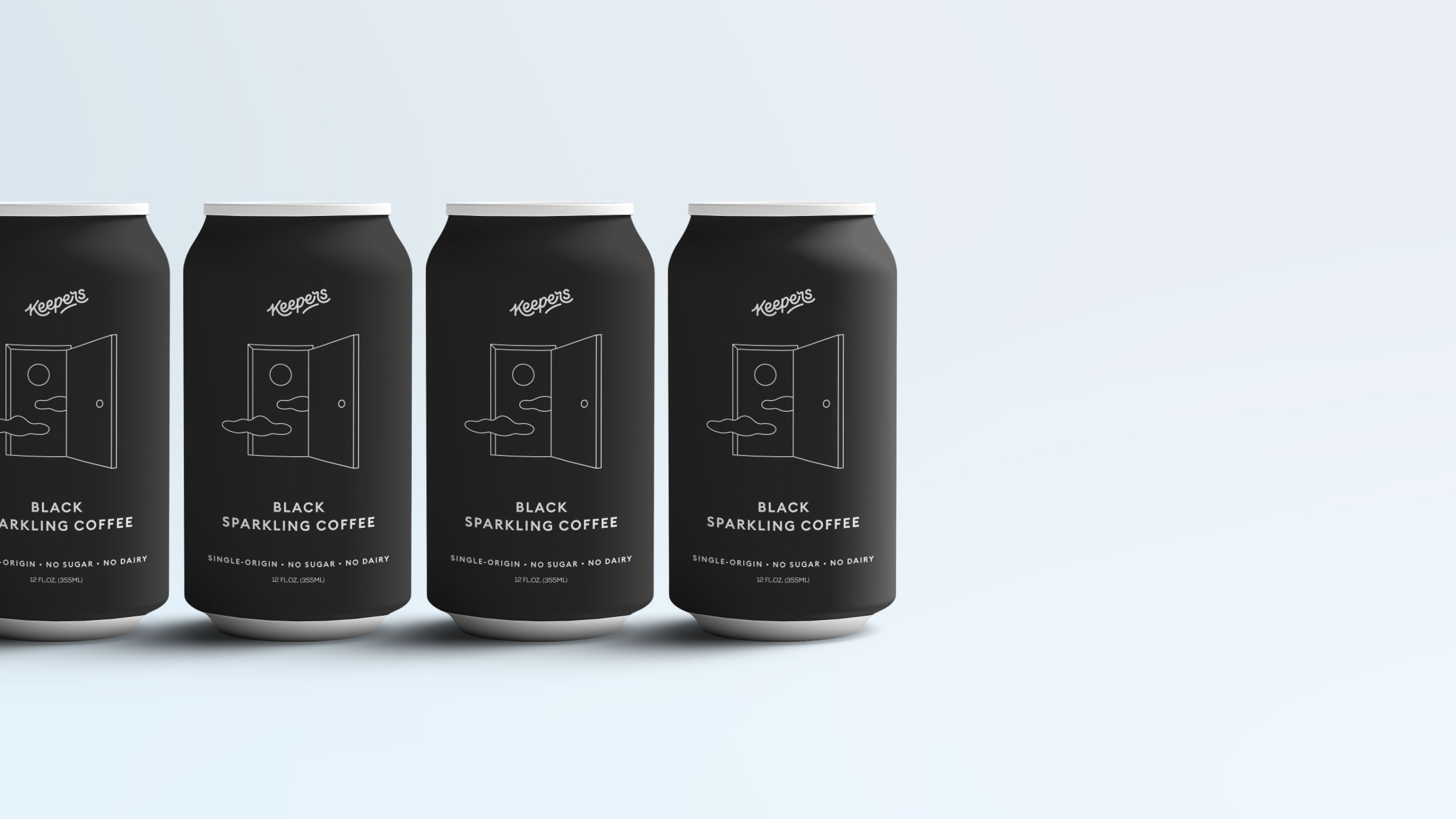 Packaging design for Keepers Black - CPG beverage cans looking sharp a.f.