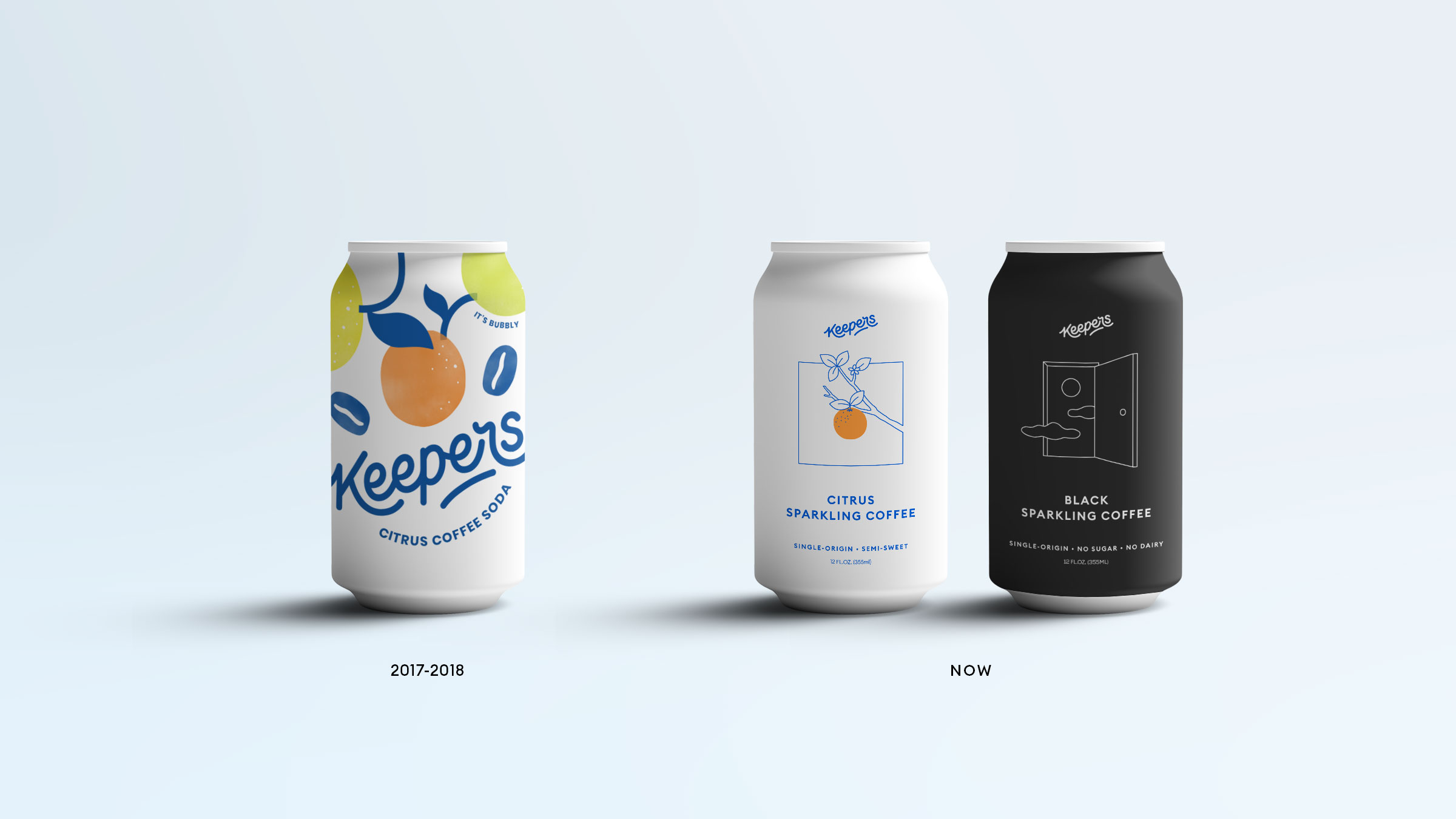 Progression of product design for Keepers from the early fun summer look to the minimal arty re-design.