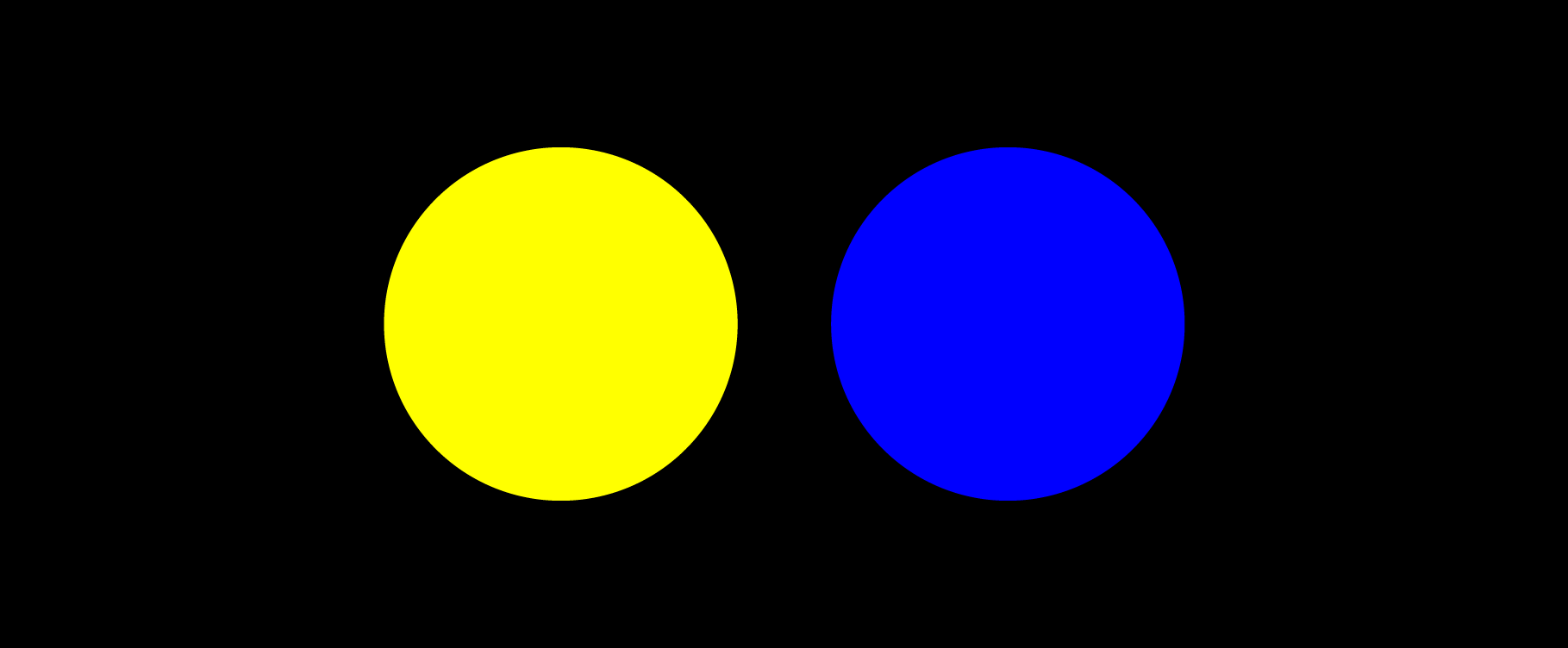 a large yellow dot and a large blue dot on black