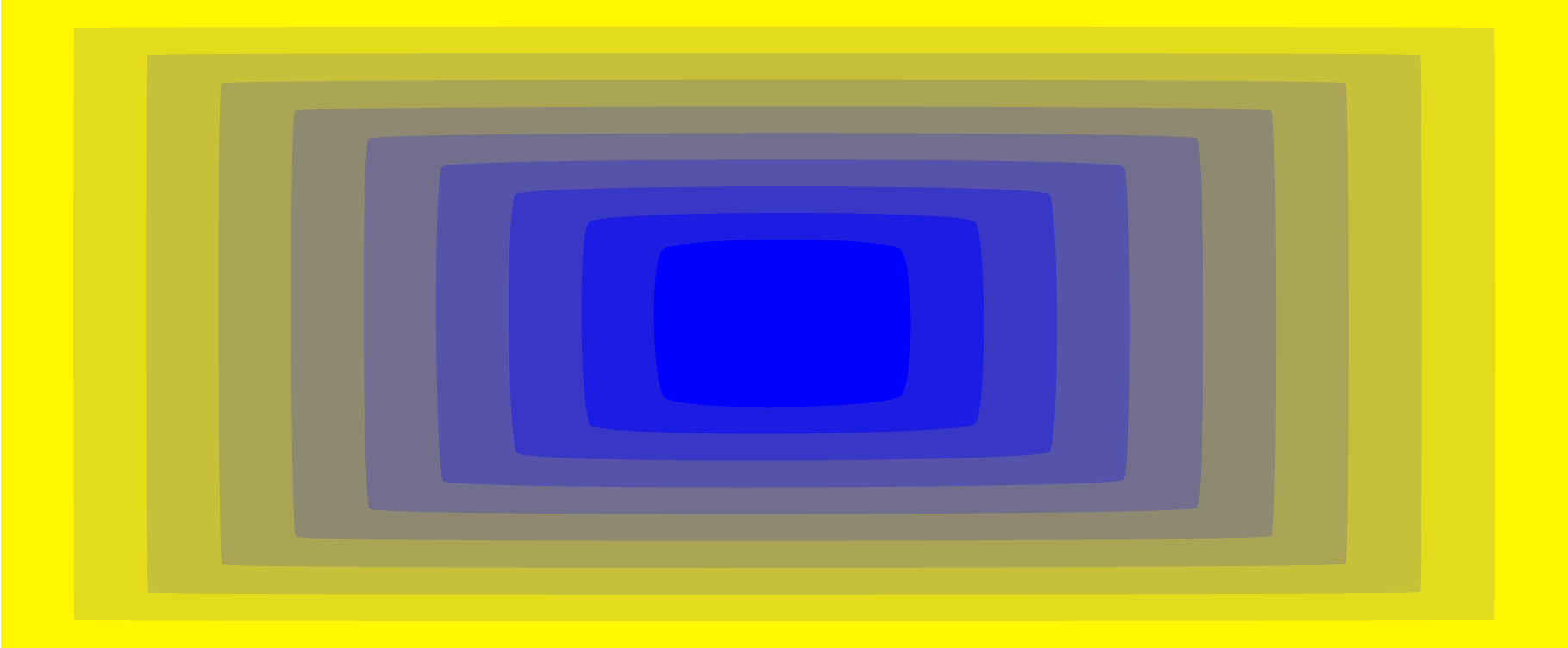 Blue retreating away from you on a yellow screen