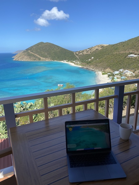 First day. Getting some work done with White Bay Villas' high speed internet. Best. View. Ever.