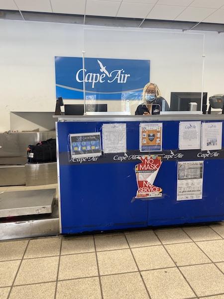 Cape Air travel counter.