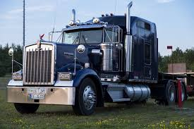 Dark blue semi truck