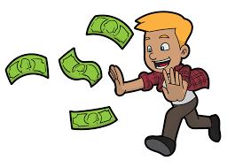 Cartoon of a man chasing money