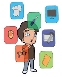 Cartoon man choosing different options