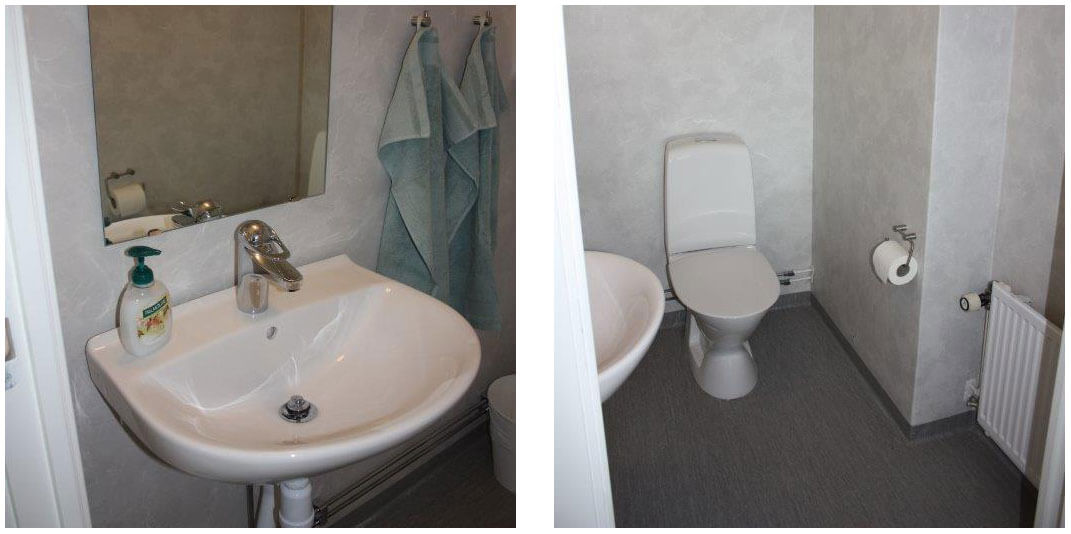Detaljbilder på separat wc med handfat, toalett och plastmatta på golv och vägg.