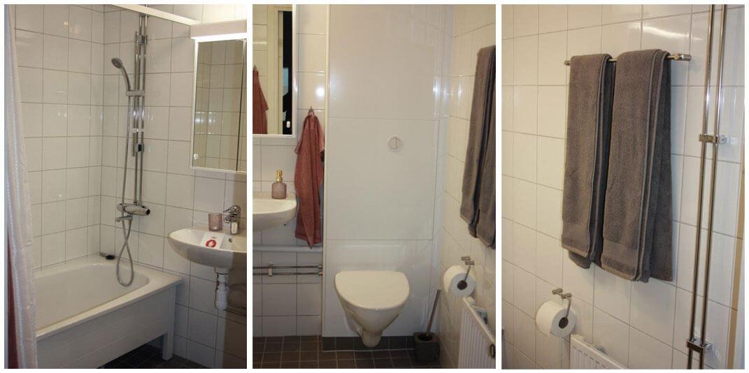 Detaljbilder på badrum med badkar, vägghängd toalett och handdukstork.