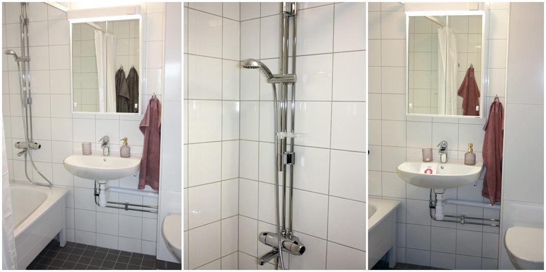 Detaljbilder i badrum med spegelskåp, vitt kakel på vägg, handfat, badkar, duschmunstycke.