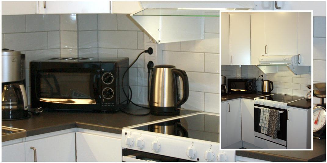 Detaljbilder i kök med vita luckor, grå bänkskiva, spis, spiskåpa.