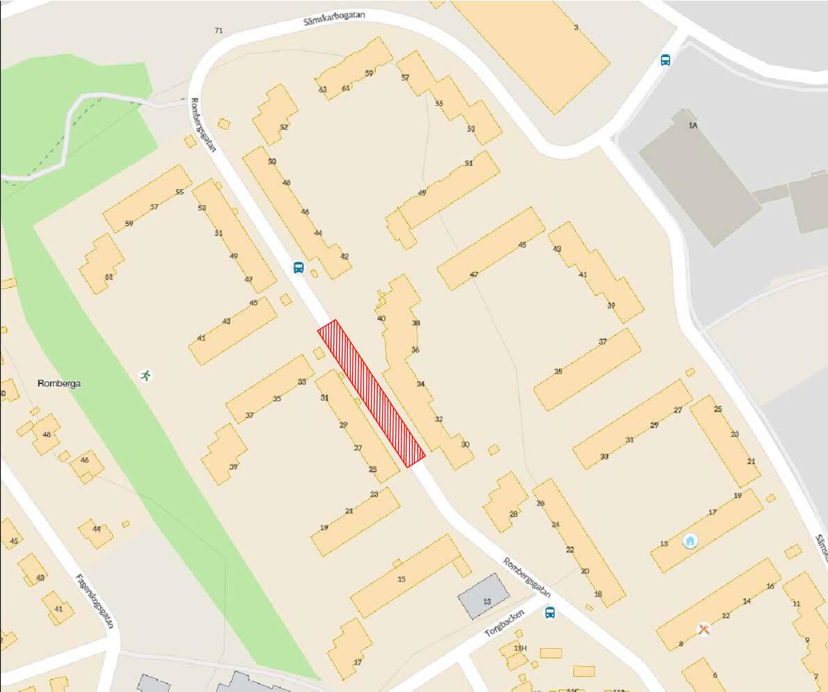 Karta som visar sträckan mellan Rombergsgatan 25 och 33 som kommer stängas av.