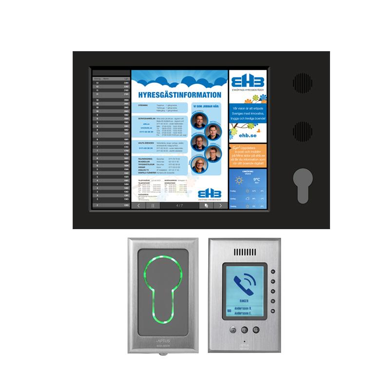 Passersystem med RFID-bricka och digital trapphustavla.