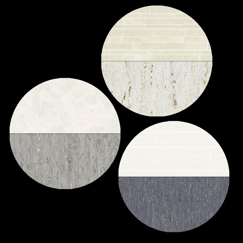 Välj mellan 3 olika kombinationer av plastmattor på vägg och golv till lägenheter med separat wc.