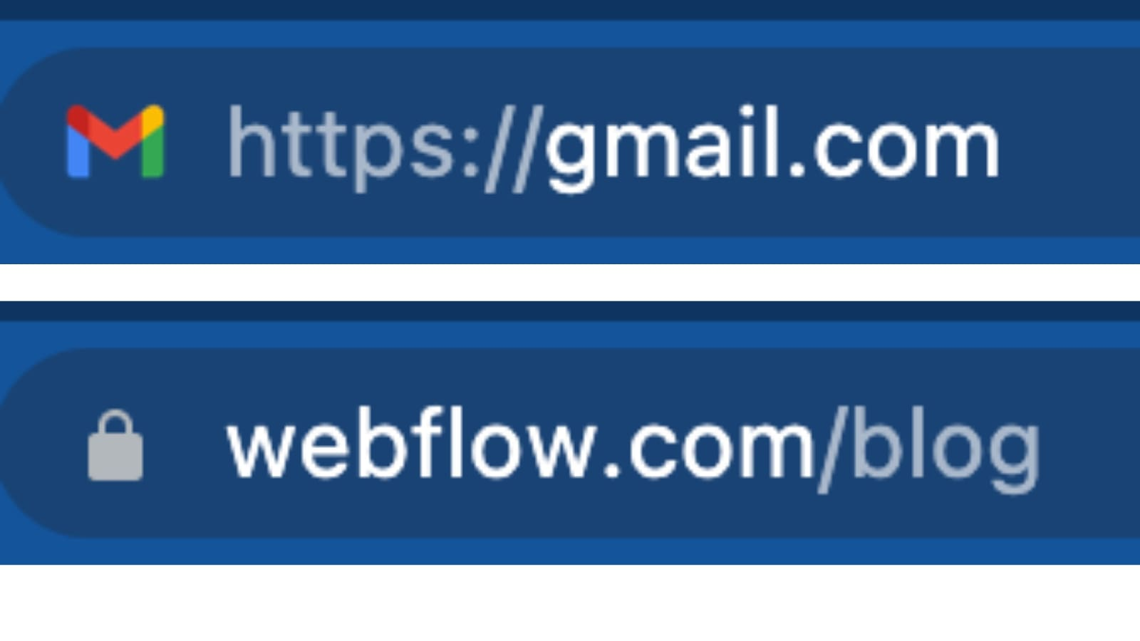 An image of how you can tell if a site has an SSL certificate in the URL. Here, we compare Gmail with Webflow