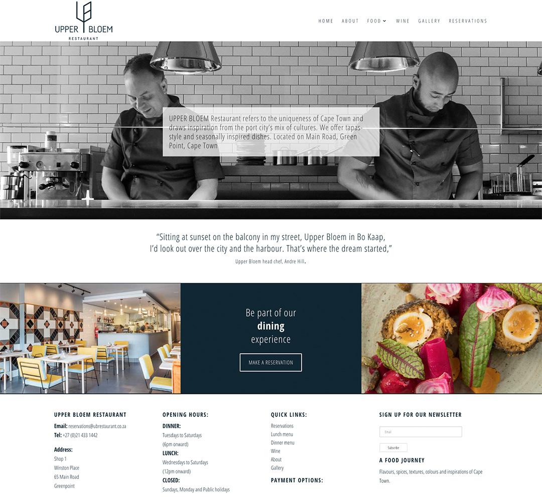 Upper Bloem website design