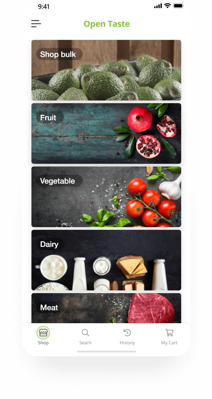 Mobile app screen mockup category page for groceries