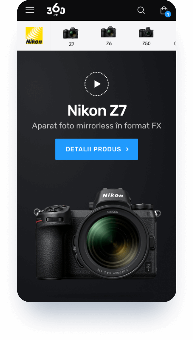 mobile screen mock-up for nikon z7 series