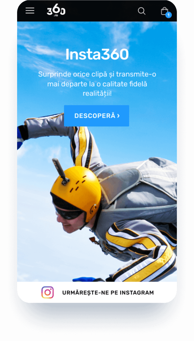 360 mobile screen homepage representing a skydiver with an action camera on the helmet