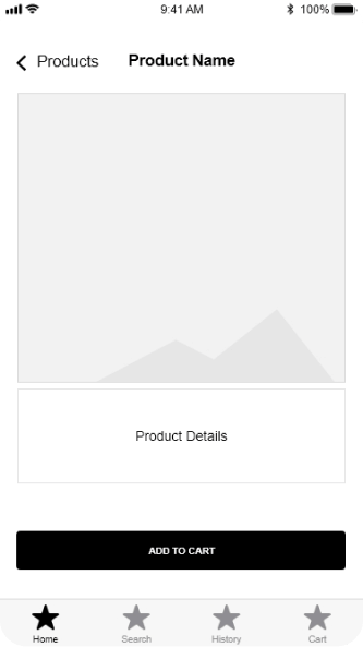 product details wireframe