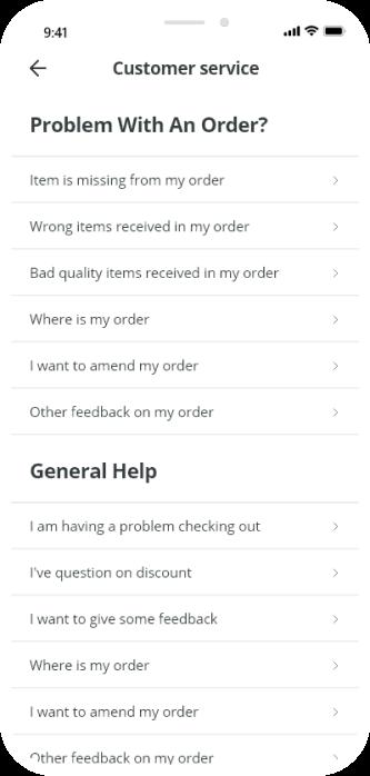 cutomer service screenshot