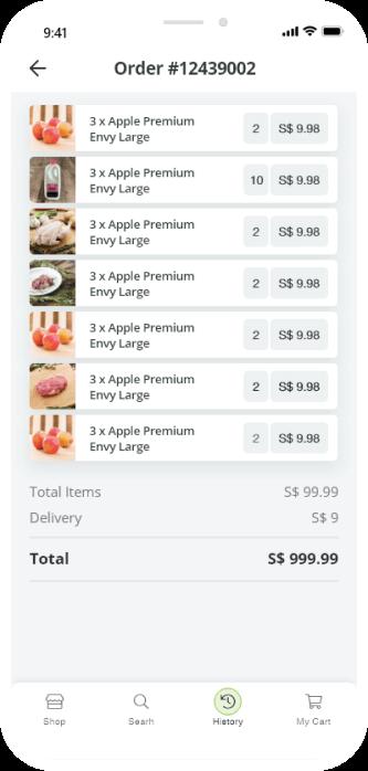 order history screenshot