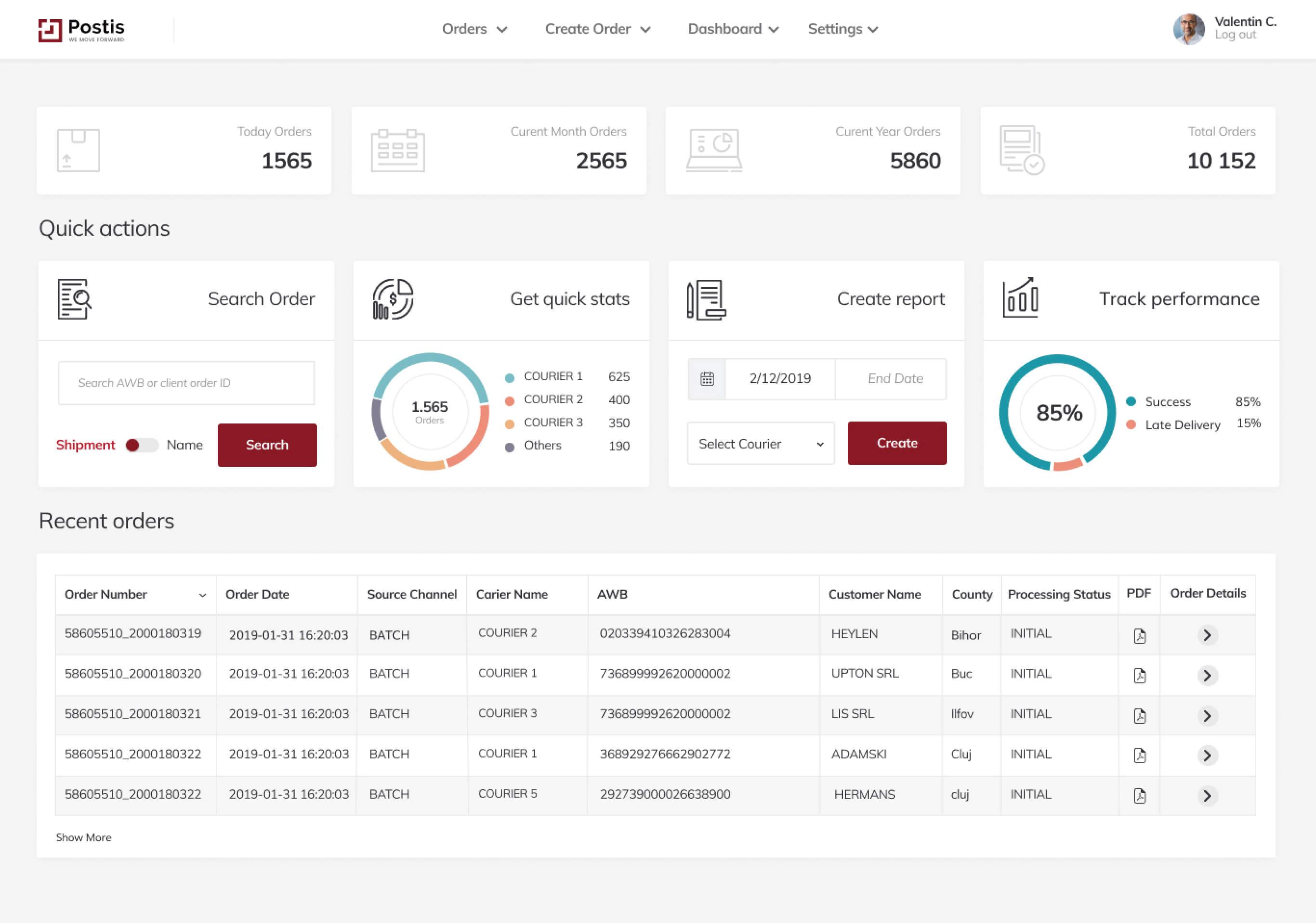 Web app design dashboard screenshot