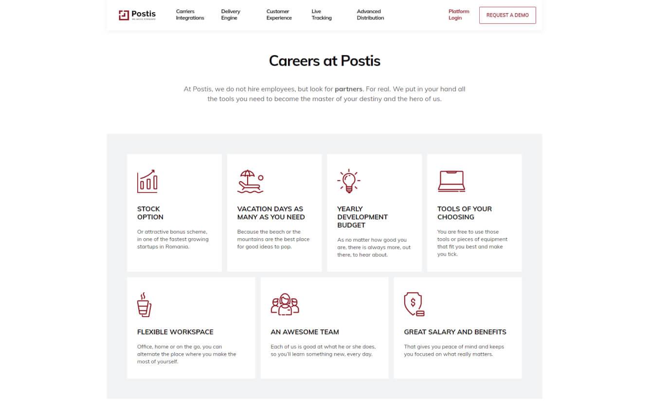 Careers page design screenshot