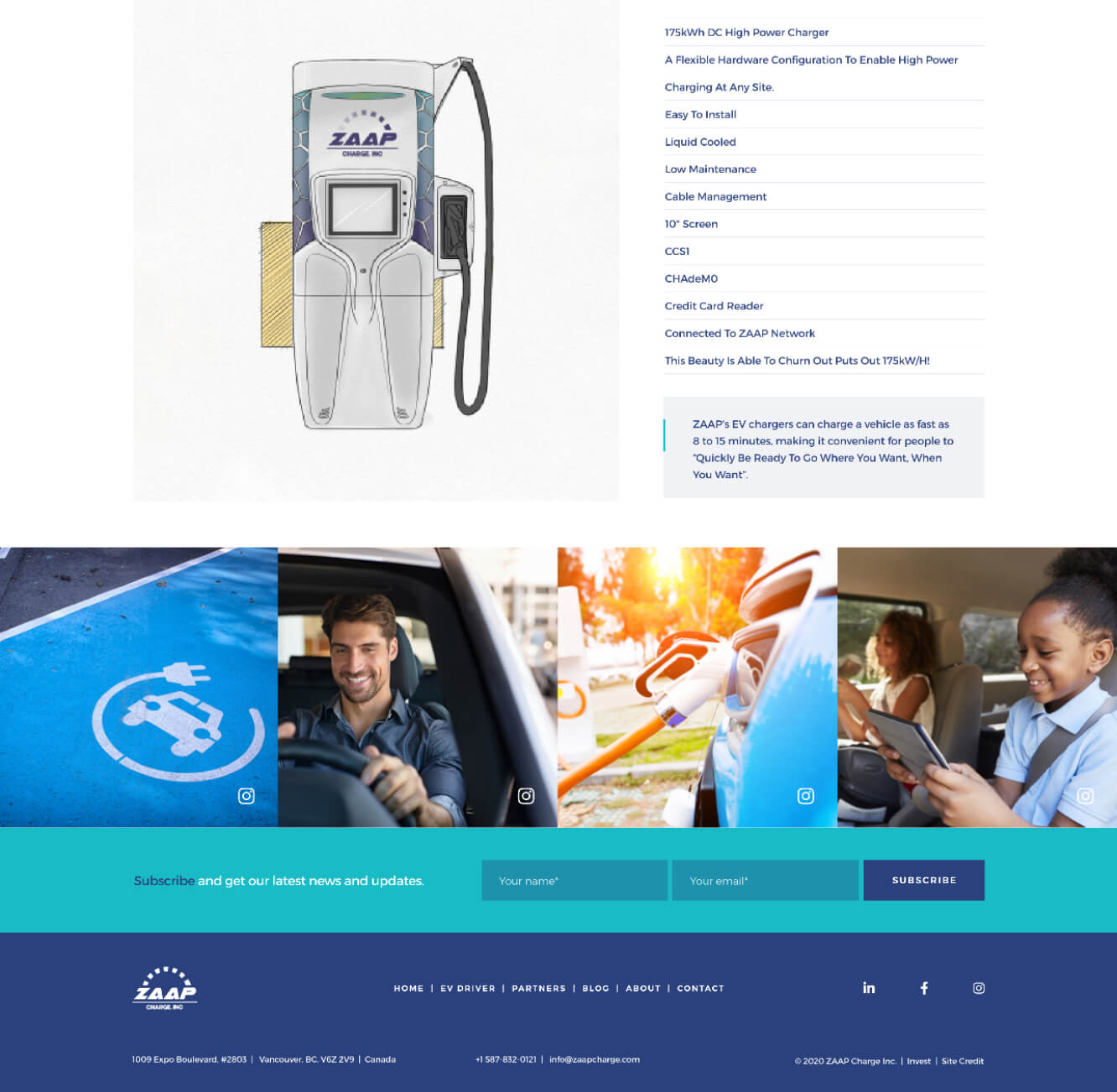 Zaap website screenshot showing the charging station and its technical details