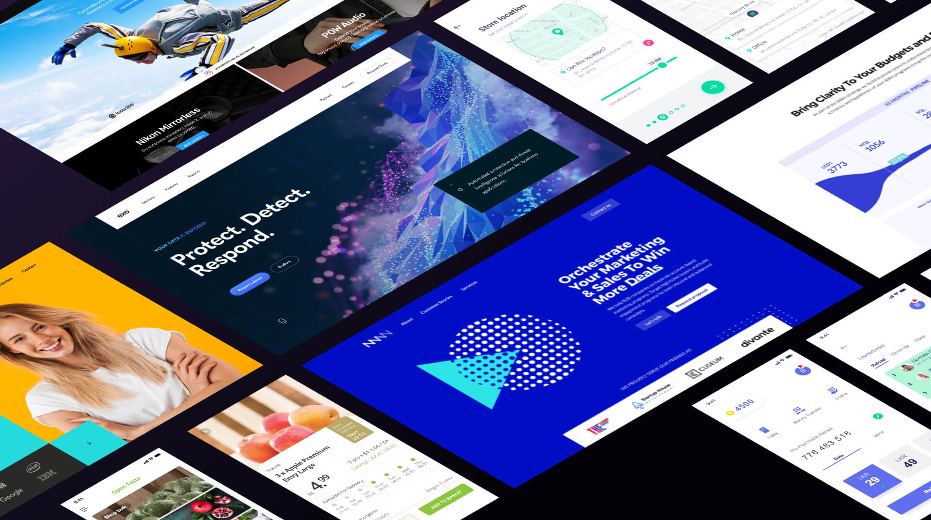 Websites and apps isometric screenshots