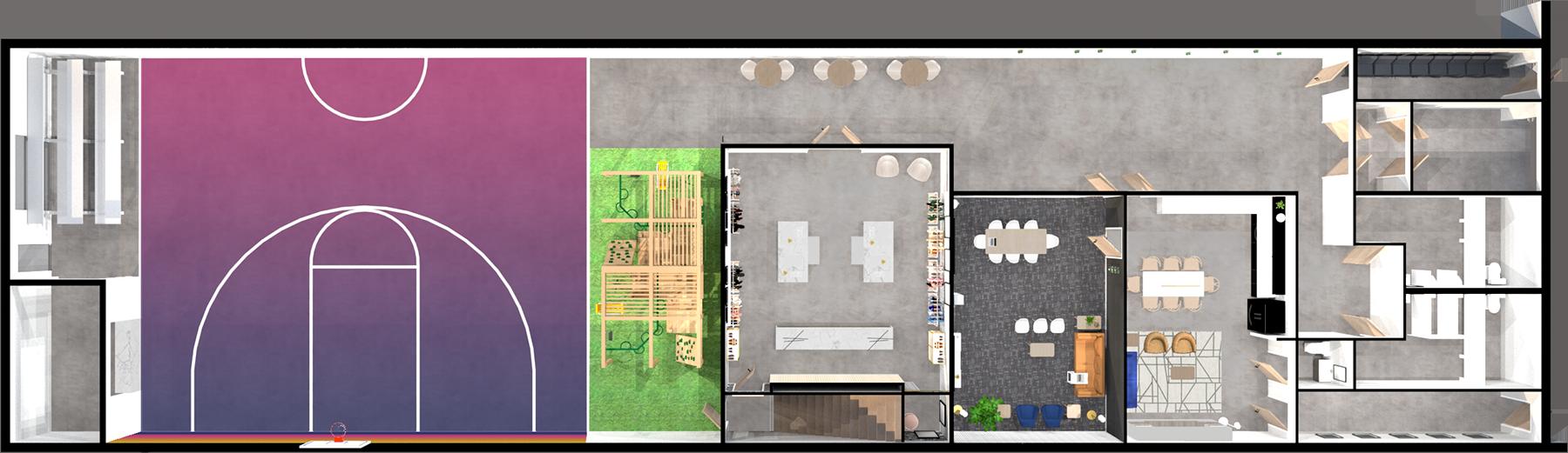 Building floor plan rendering