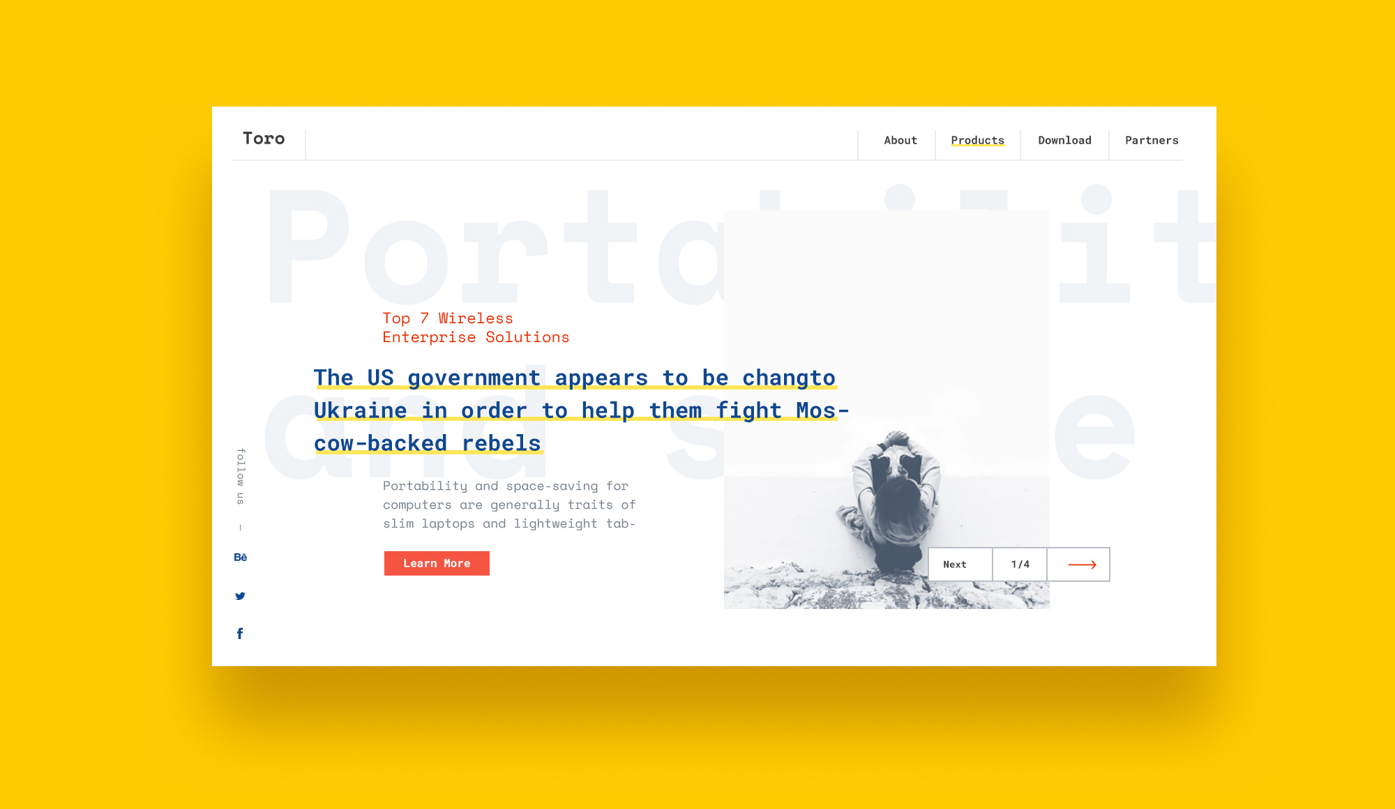 Templates and Layouts Toro Web Concept