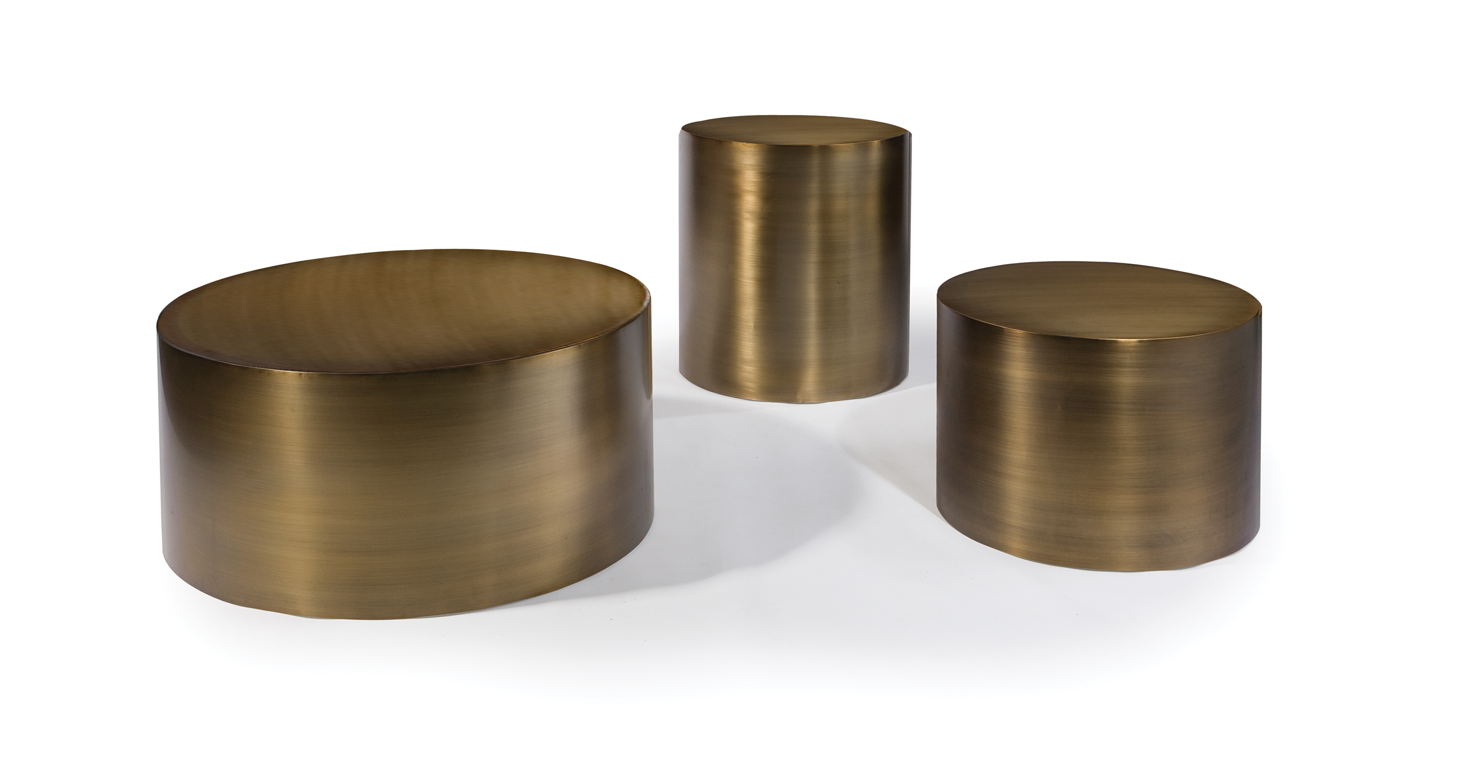 Brushed Bronze Drum Tables
