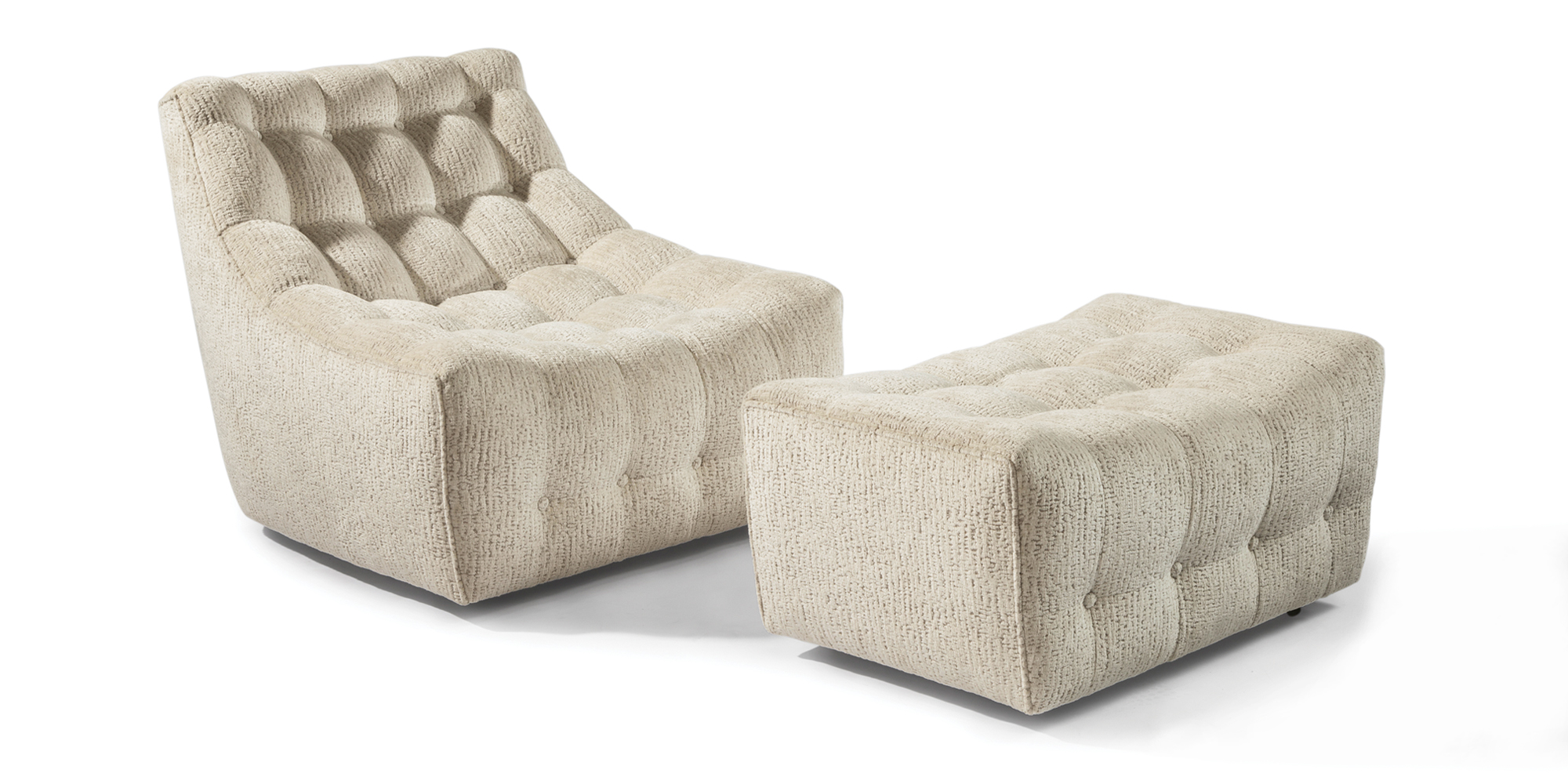 Tommy Tufted Lounge Chair and Ottoman