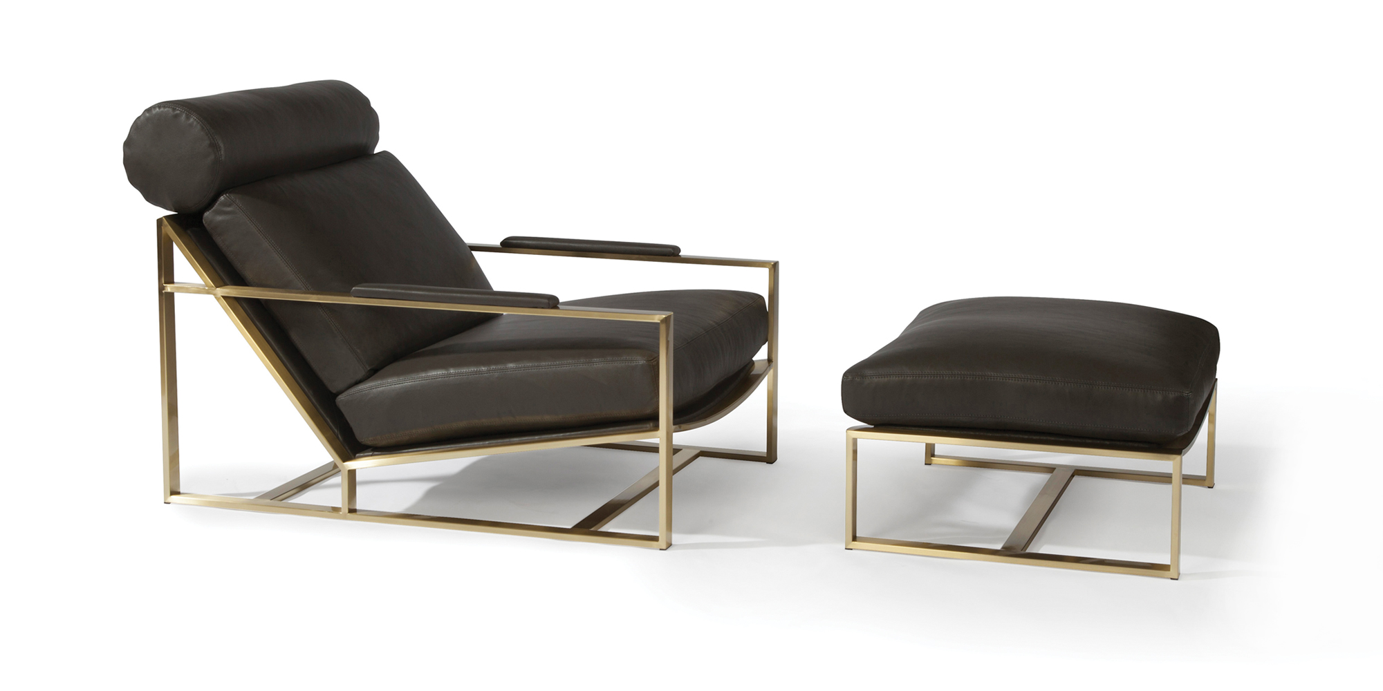 Cruisin' Lounge Chair and Ottoman (Satin Brass)