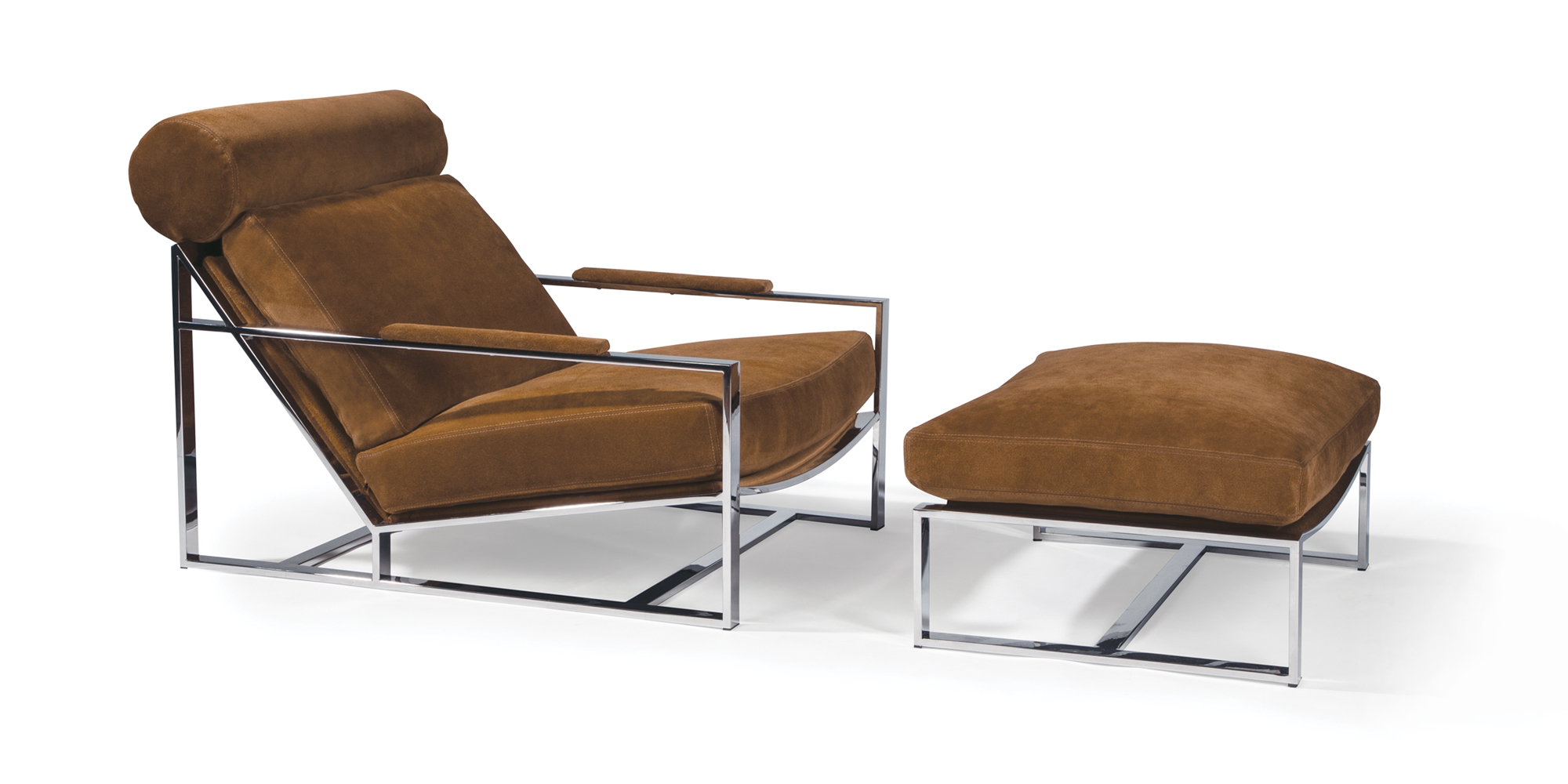 Cruisin' Lounge Chair and Ottoman (Polished Stainless)