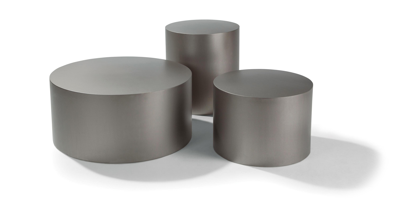Sandblast Stainless Steel Drum Tables