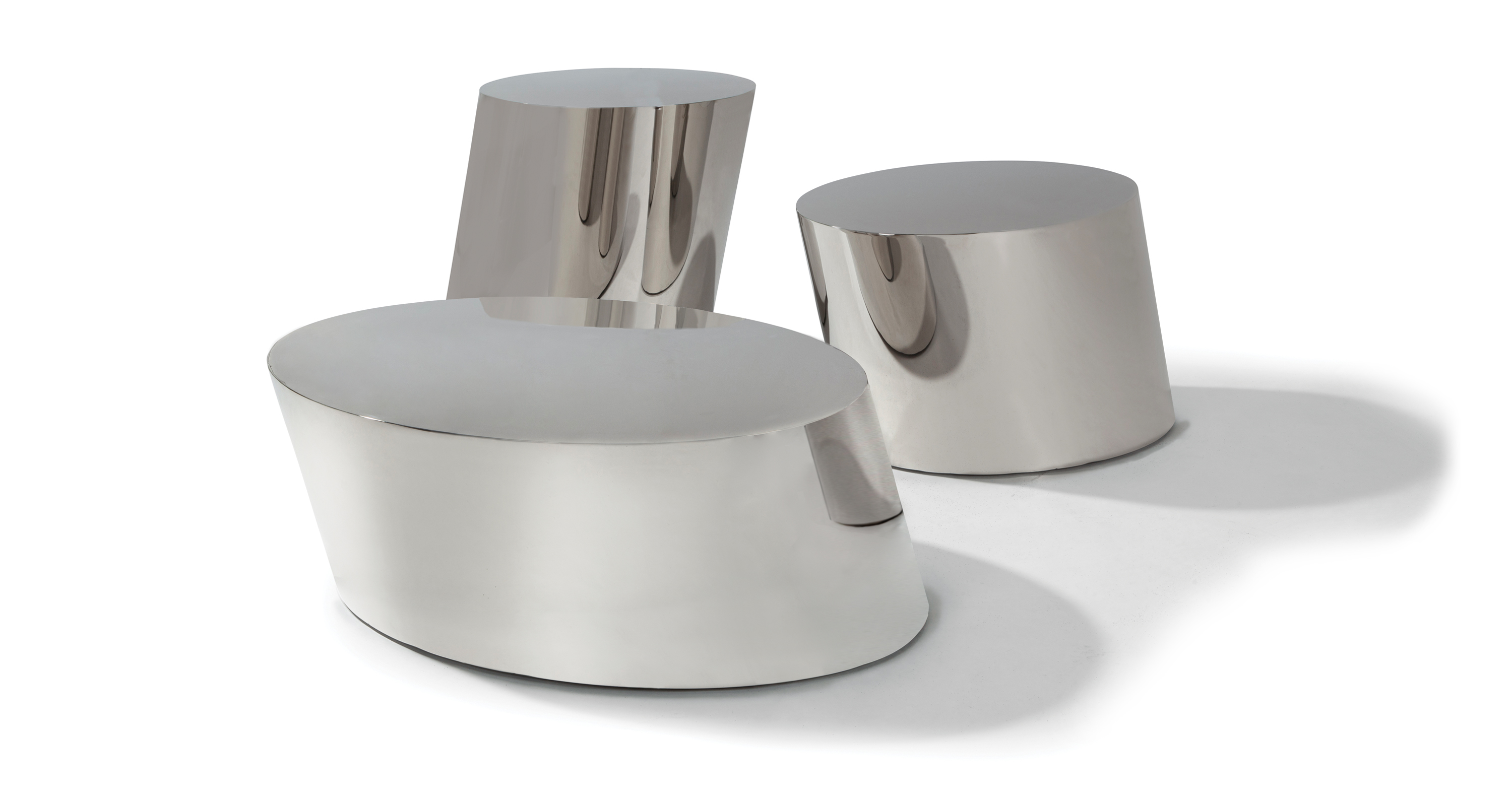Polished Stainless Pisa Drum Tables