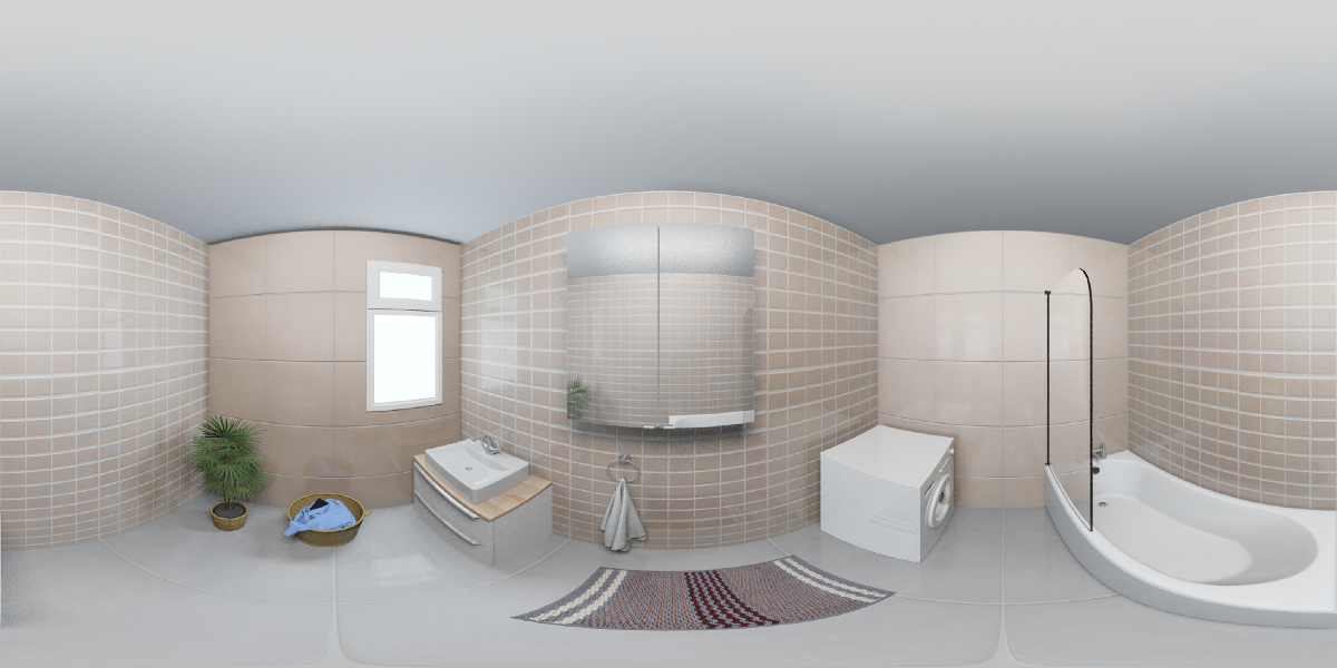 A panorama render of the same bathroom